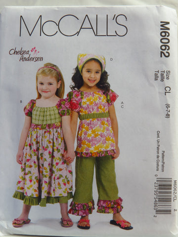 McCall's 6062 Children's/Girls' Top, Dress, Capri Pants and Kerchief - CL (6-7-8) - Smiths Depot Sewing Pattern Superstore