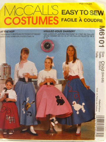 McCall's 6101 Children's/Girls'/Misses' Pull-On Poodle Skirt and Petticoat Costume - Child (3/4-5/6) - Smiths Depot Sewing Pattern Superstore