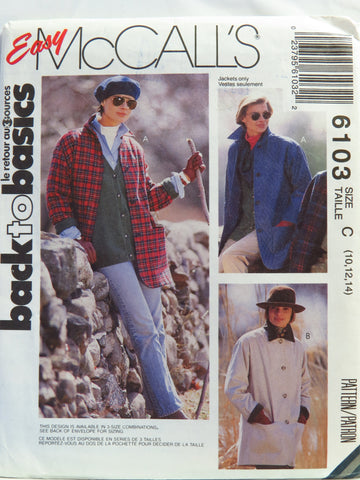 McCall's 6103 Misses' Unlined Jacket - C (10-12-14) - Smiths Depot Sewing Pattern Superstore
