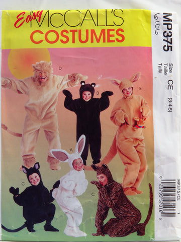 McCall's 0375 Adults'/Kids' Animal Costumes - CE (3-4-5) - Smiths Depot Sewing Pattern Superstore  - 1