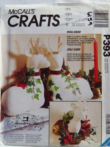 "McCall's 0393 Deer/Stag Package 14"" Deer and 18"" Deer Wall Hanging -  - Smiths Depot Sewing Pattern Superstore"