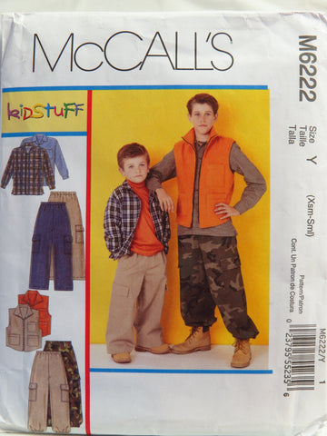 McCall's 6222 Children's/Boys' Shirt, Vest and Pants - Y (3-4-5-6) - Smiths Depot Sewing Pattern Superstore  - 1