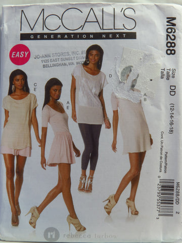 McCall's 6288 Misses' Tops, Dress and Skirt - DD (12-14-16-18) - Smiths Depot Sewing Pattern Superstore
