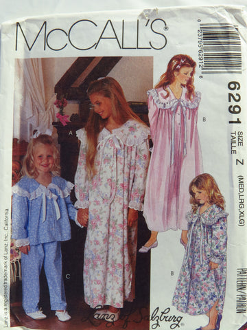 McCall's 6291 Children's and Girls' Nightgown in Two Lengths Pajamas Sleepwear - Z (M-L-XL) - Smiths Depot Sewing Pattern Superstore