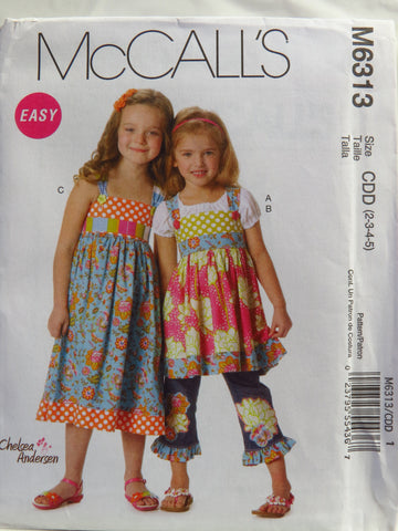 McCall's 6313 Children's/Girls' Tops, Dress, Belt and Ruffle for Purchased Jeans - CDD (2-3-4-5) - Smiths Depot Sewing Pattern Superstore