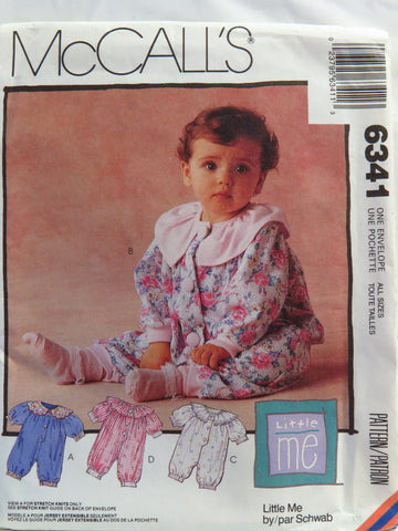 McCall's 6341 Infant's Unisex Jumpsuit in Two Lengths with Snap Crotch Stretch Knits Only -  - Smiths Depot Sewing Pattern Superstore