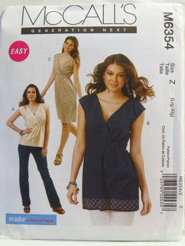 McCall's 6354 Misses' Top, Tunic and Dress - Z (16-18-20-22) - Smiths Depot Sewing Pattern Superstore