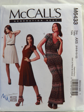 McCall's 6433 Dress in Three Lengths - AX5 (4-6-8-10-12) - Smiths Depot Sewing Pattern Superstore