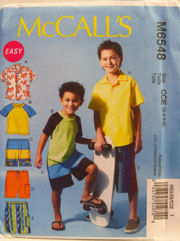 McCall's 6548 Children's/Boys' Shirt, Top and Shorts - CCE (3-4-5-6) - Smiths Depot Sewing Pattern Superstore