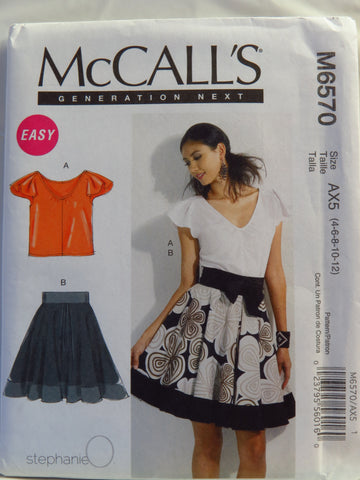 McCall's 6570 Misses' Top and Lined Skirt - AX5 (4-6-8-10-12) - Smiths Depot Sewing Pattern Superstore