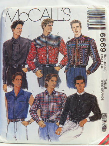 McCall's 6569 Men's Shirts - Ex-Large (46-48) - Smiths Depot Sewing Pattern Superstore