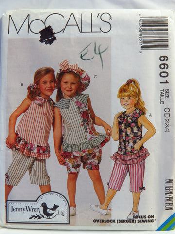 McCall's 6601 Children's and Girls' Top,  Capri Pants, Bloomers, Hat and Hair Band - CD (2-3-4) - Smiths Depot Sewing Pattern Superstore