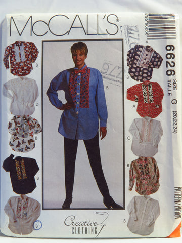McCall's 6626 Misses' Western Shirts and Bow Ties - G (20-22-24) - Smiths Depot Sewing Pattern Superstore