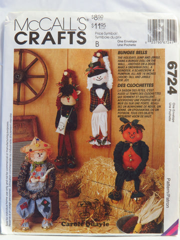 McCall's 6724 Bungee Bells Holiday Dolls -  - Smiths Depot Sewing Pattern Superstore