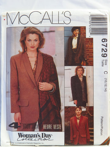 McCall's 6729 Misses' Lined or Unlined Jacket - C (10-12-14) - Smiths Depot Sewing Pattern Superstore