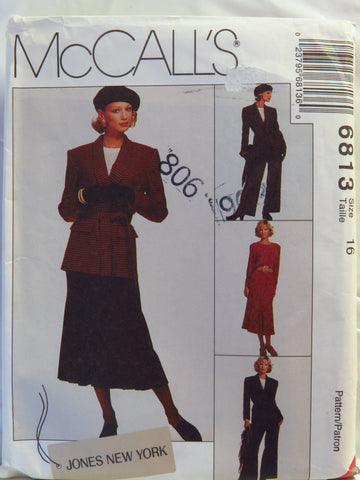 McCall's 6813 Misses' Lined Jacket and Tie Belt, Top, Skirt and Pants - 16 - Smiths Depot Sewing Pattern Superstore