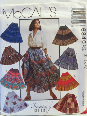 McCall's 6840 Misses' Skirts - Z (Lrg-Xlg) - Smiths Depot Sewing Pattern Superstore