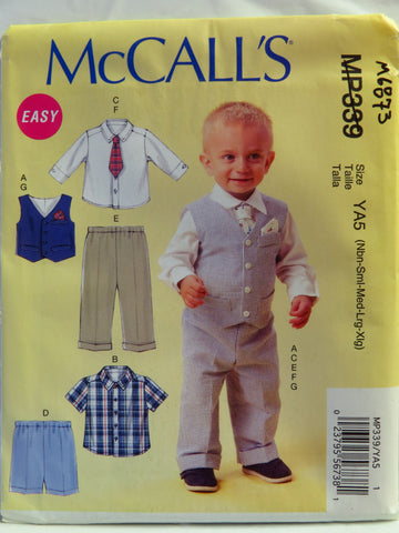 McCall's 0339 Infants' Vest, Shirts, Shorts, Pants, Tie and Pocket Square - YA5 (Nbn-Sml-Med-Lrg-Xlg) - Smiths Depot Sewing Pattern Superstore