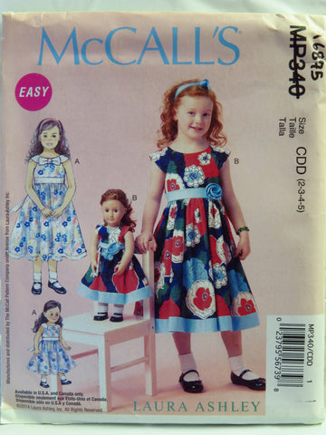 "McCall's 0340 Children's and Girls' Dresses and Dresses for 18"" Doll - CDD (2-3-4-5) - Smiths Depot Sewing Pattern Superstore  - 1"