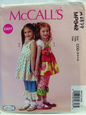 McCall's 0342 Children's and Girls' Top, Dress and Pants - CDD (2-3-4-5) - Smiths Depot Sewing Pattern Superstore  - 1