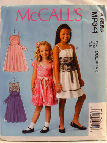McCall's 0341 Children's and Girls' Dresses and Sash - CCE (3-4-5-6) - Smiths Depot Sewing Pattern Superstore  - 1