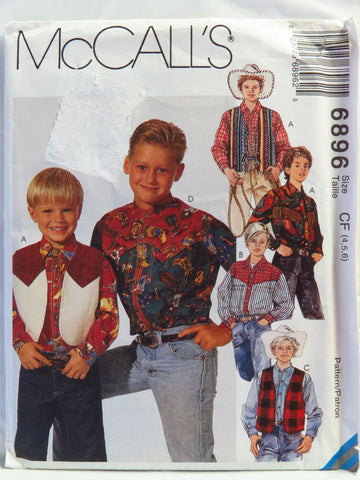 McCall's 6896 Children's and Boys' Lined Vest and Shirts - CF (4-5-6) - Smiths Depot Sewing Pattern Superstore  - 1