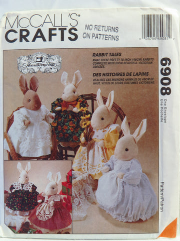 "McCall's 6908 15"" Rabbit Tales Plush Dolls -  - Smiths Depot Sewing Pattern Superstore"