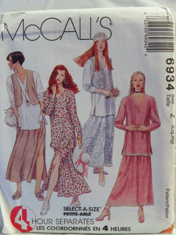 McCall's 6934 Misses' Lined or Unlined Vest,Tunic and Lined or Unlined Skirt - Z (Lrg-Xlg) - Smiths Depot Sewing Pattern Superstore