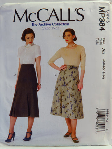 McCall's 0384 Misses' Vintage Skirts and Belt - A5 (6-8-10-12-14) - Smiths Depot Sewing Pattern Superstore  - 1