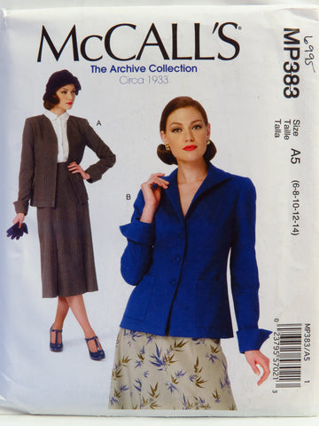 McCall's 0383 Misses' Vintage Style Jackets - A5 (6-8-10-12-14) - Smiths Depot Sewing Pattern Superstore  - 1