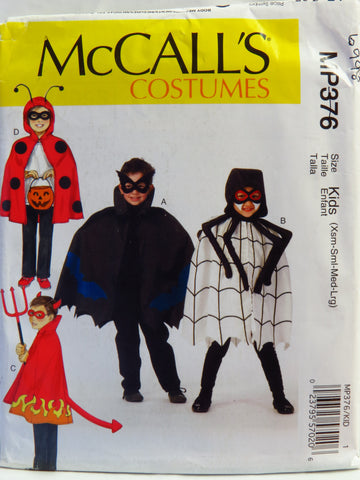 McCall's 0376 Children's Costumes - Kids (Xsm-Sml-Med-Lrg) - Smiths Depot Sewing Pattern Superstore