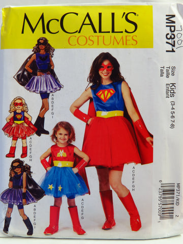 McCall's 0371 Misses', Children's and Girls' Super Hero Costumes - Kids (3-4/5-6/7-8) - Smiths Depot Sewing Pattern Superstore  - 1