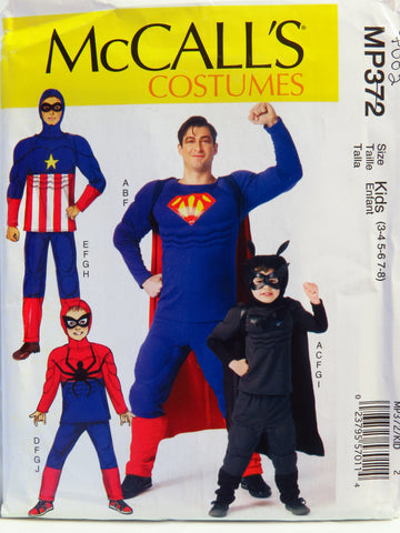 McCall's 0372 Men's, Children's and Boys' Super Hero Costumes - Kids (3-4/5-6/7-8) - Smiths Depot Sewing Pattern Superstore  - 1
