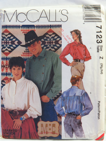 McCall's 7123 Misses' and Mens' Western Shirts - Z (Xlg-Xxl) - Smiths Depot Sewing Pattern Superstore