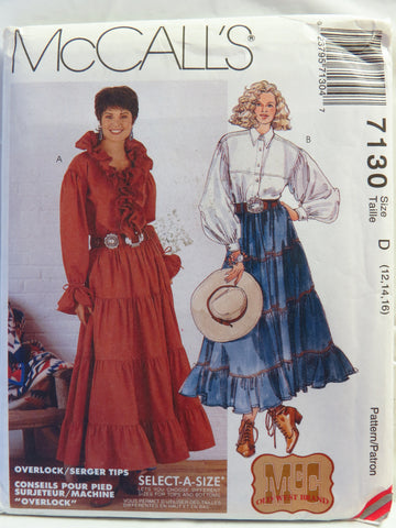 McCall's 7130 Misses' Western Tops and Pull-On Skirts - D (12-14-16) - Smiths Depot Sewing Pattern Superstore