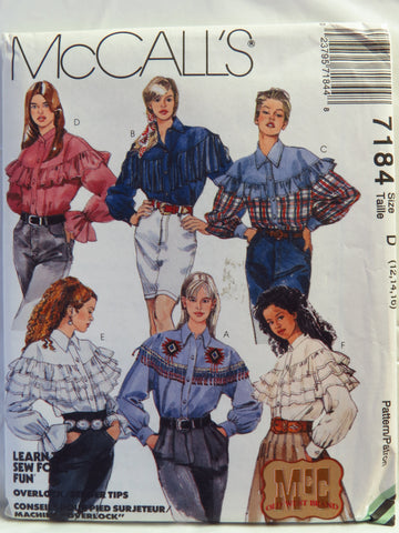 McCall's 7184 Misses' Western Shirts - D (12-14-16) - Smiths Depot Sewing Pattern Superstore