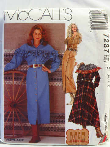 McCall's 7237 Misses' Western Dresses - C (10-12-14) - Smiths Depot Sewing Pattern Superstore  - 1