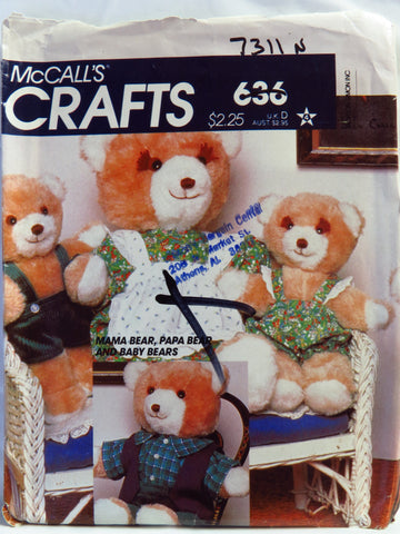 McCall's 0636 Bear Family and Wardrobe -  - Smiths Depot Sewing Pattern Superstore