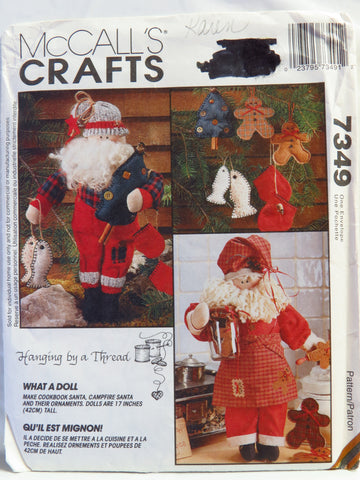 McCall's 7349 Cookbook Santa, Campfire Santa and Ornaments -  - Smiths Depot Sewing Pattern Superstore