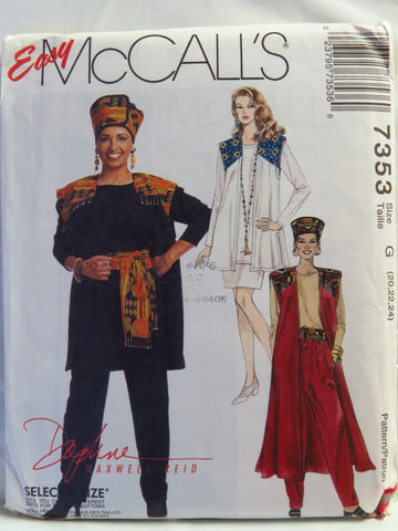 McCall's 7353 Misses' Unlined Vest in Two Lengths, Top, Pull-On Pants, Pull-On Skirt, Hat and Sash - G (20-22-24) - Smiths Depot Sewing Pattern Superstore