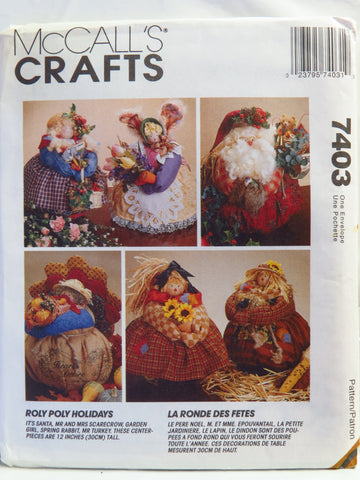 McCall's 7403 Roly Poly Holiday Centerpieces -  - Smiths Depot Sewing Pattern Superstore