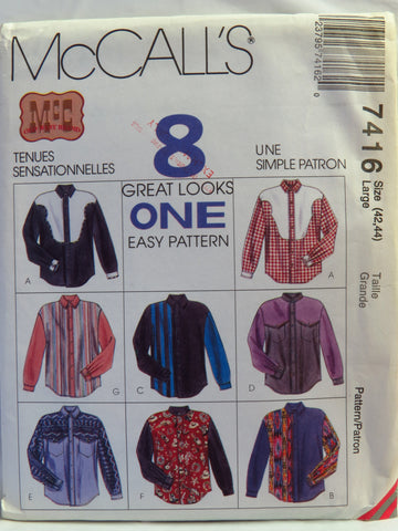 McCall's 7416 Men's Western Shirts - Large (42-44) - Smiths Depot Sewing Pattern Superstore  - 1