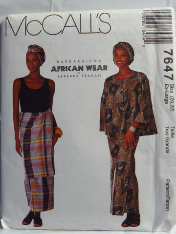 McCall's 7647 Misses' Top, Wrap Skirt, Headwrap and Overskirt - Ex-Lrg (20-22) - Smiths Depot Sewing Pattern Superstore