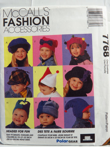 McCall's 7768 Kids' Fleece Hats -  - Smiths Depot Sewing Pattern Superstore