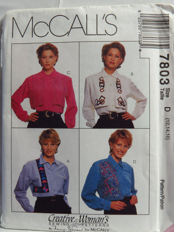 McCall's 7803 Misses' Blouse - D (12-14-16) - Smiths Depot Sewing Pattern Superstore