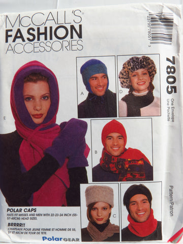 McCall's 7805 Misses' and Men's Fashion Accessories -  - Smiths Depot Sewing Pattern Superstore