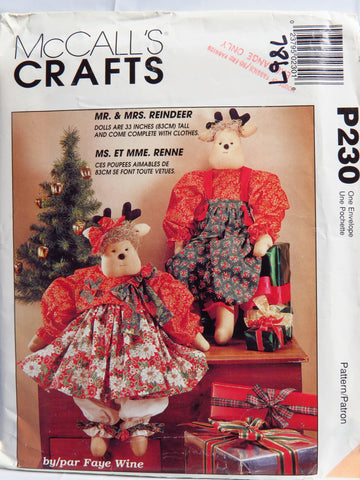 "McCall's 0230 33"" Mr. and Mrs. Reindeer Dolls -  - Smiths Depot Sewing Pattern Superstore"