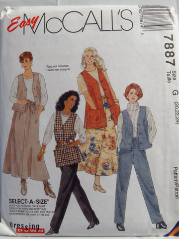 McCall's 7887 Misses' Vest in Two Lengths, Pull-On Pants and Pull-On Skirt - G (20-22-24) - Smiths Depot Sewing Pattern Superstore