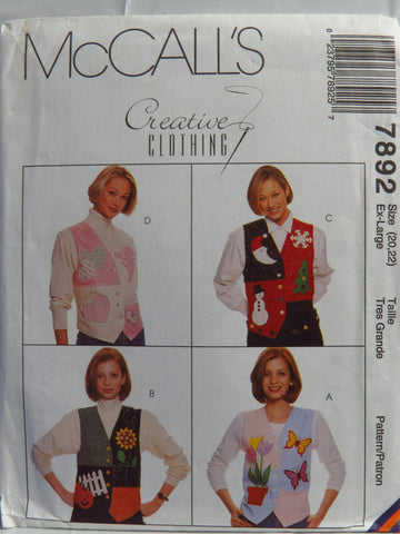 McCall's 7892 Misses' Lined Vest - Ex-Large (20-22) - Smiths Depot Sewing Pattern Superstore