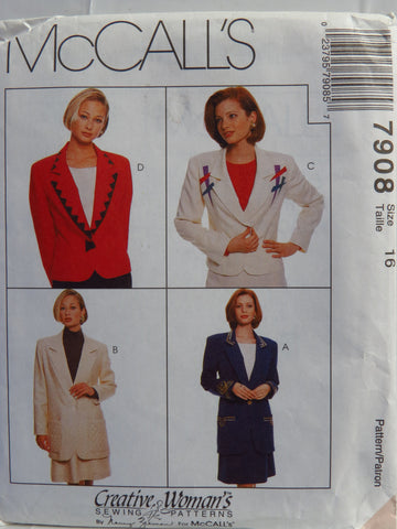 McCall's 7908 Misses' Lined Jacket in Two Lengths and Skirt - 16 - Smiths Depot Sewing Pattern Superstore